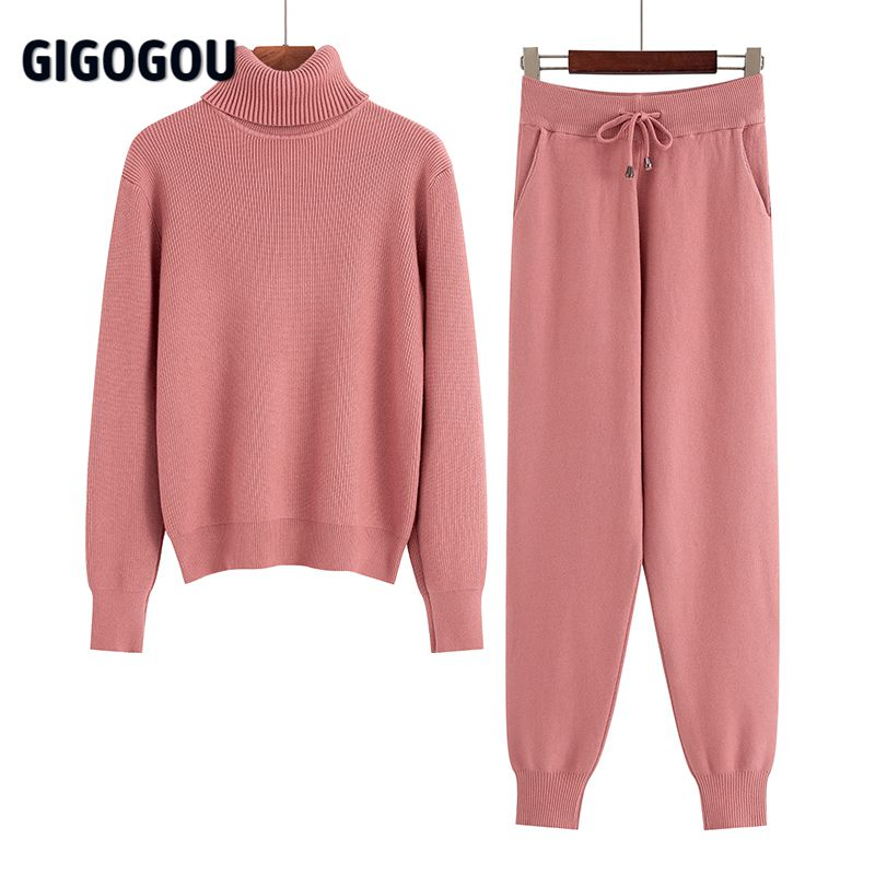GIGOGOU Two Piece Set Women Knit Sport Suits Thick Warm Turtleneck Women Sweater + Drawstring Harem Pants Winter Jogging Outfits