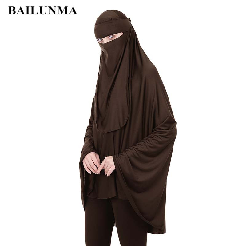 Fashion Arab Prayer Garment+Veil Worship Service 2 Pcs Muslim Women Niqab Women Islamic Clothing Long Tops Baju Muslim Wanita