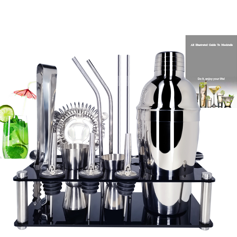 1-15Pcs/set Barware Set Stainless Bar Cocktail Shaker Set Bartender Kit Shakers Bar Tools With Wine Stand
