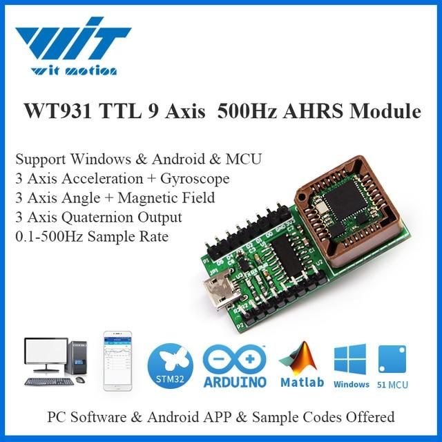 WitMotion WT931 500Hz kadar AHRS IMU 9 eksen sensörü açı + İvmeölçer + jiroskop + manyetometre MPU 9250 üzerinde PC/Android/MCU