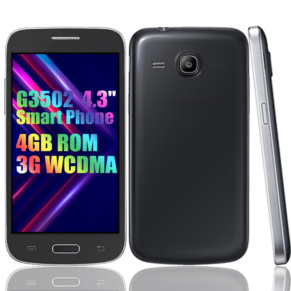 Smartphones originais g3502 4gb rom 3g wcdma gps 4.3 polegada desbloqueado android duplo sim telefones celulares baratos 5.0mp