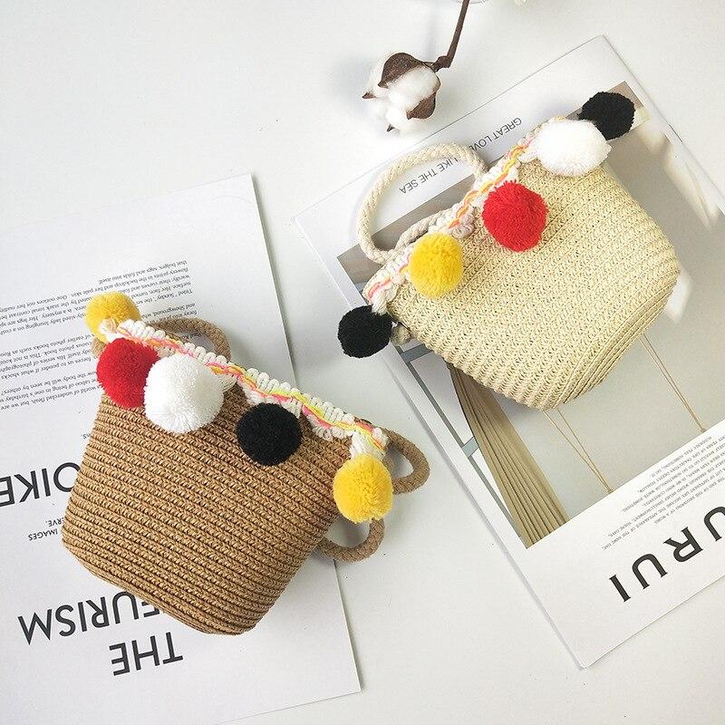 Qiu South Korean-style Hot Sales Children Straw Bag Shoulder Bag Fashion Outing Outdoor Decoration Straw Bag