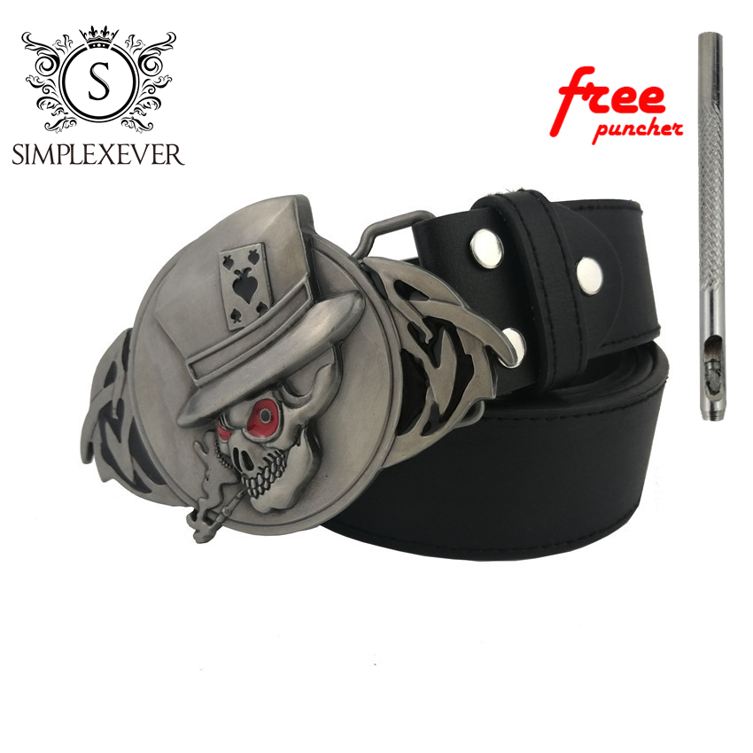Poker Belt Buckle Silver Men's Belt Buckle With Leather Belt As Halloween Gift