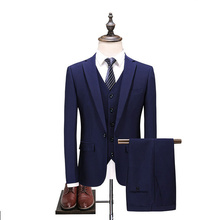 2019 Blue Suit Men 3 Pieces Slim Fit Custom Made Business Formal Suits for Wedding 2017 Latest Coat and Pants 3pcs Terno
