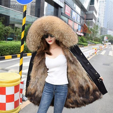 Зимняя женская куртка с натуральным мехом, длинная Водонепроницаемая парка с большим воротником из натурального меха енота, Толстая теплая подкладка из натурального меха лисы