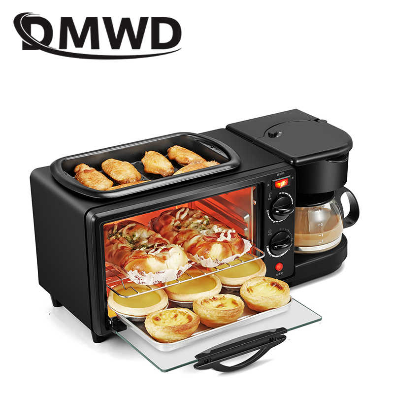 DMWD Household Electric 3 in 1 Breakfast Making Machine Multifunction Mini Drip Coffee Maker Bread Pizza Vven Frying pan Toaster