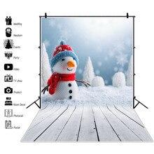 Laeacco Winter Backdrop Christmas Snowman Pine Snow Gray Wooden Board Child Kid Portrait Photo Background Photocall Studio