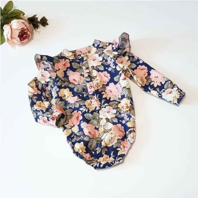 CANIS Autumn Newborn Baby Girl Long Sleeve Floral Printed Ruffles Patchwork Bodysuit Jumpsuit Playsuit Clothes Set