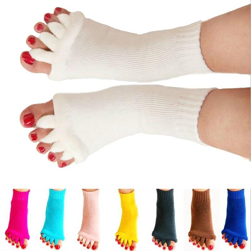 1 Pair Fitness Massage Separator Five Toe Socks Sleeping Fingers Healthy Feet Care Socks Soft Pain Relief Socks