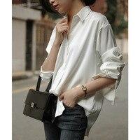 JULY Autumn long sleeved white shirt women's satin Loose Silk top Single breasted shirt Women's shirt blue casual shirt One size