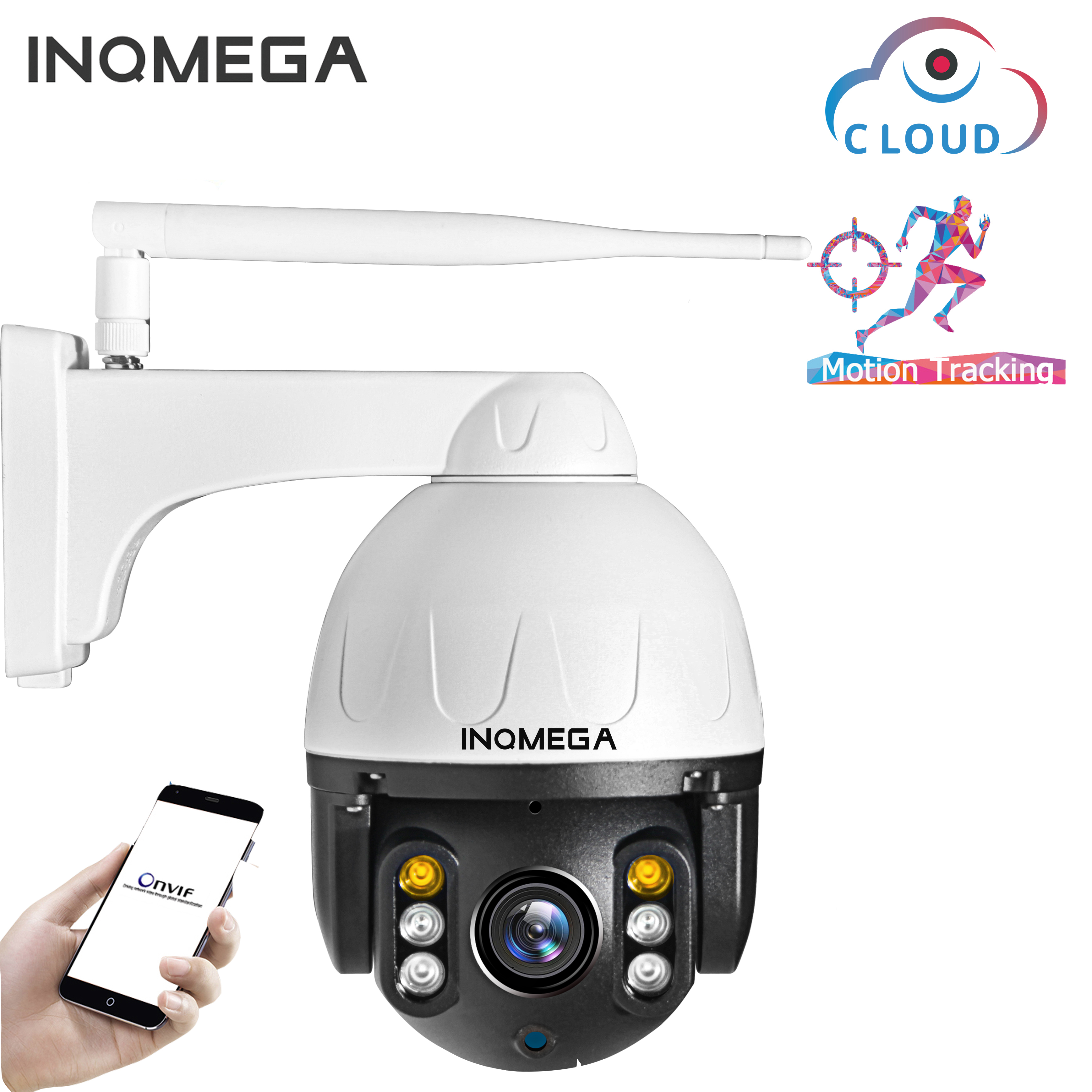 INQMEGA Cloud 1080P Outdoor PTZ IP Camera WIFI Speed Dome Auto Tracking Camera 4X Digital Zoom