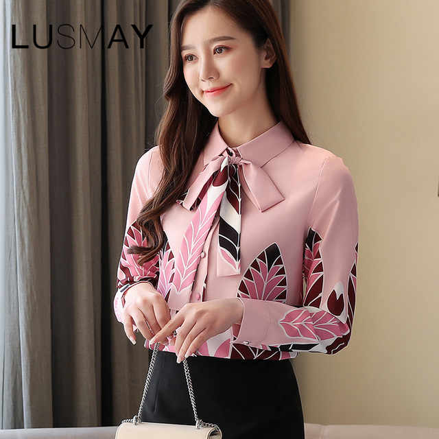 Korean Elegant Print Cute Bow Casual Shirt Women Spring Summer Long Sleeve Chiffon Blouse Pink 5