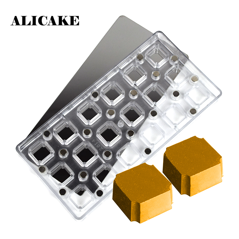 18 Holes Square Shape Magnet Polycarbonate Chocolate Mold Food Grade 2Pcs Transfer Paper Pastry Baking Tools Moule Chocolat