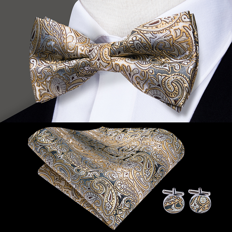 LH-501 Hi-Tie Silk Men's Bow Ties For Men Classic Paisley Wedding Party Bowtie Handkerchief Cufflinks Set Gold Bowtie Set