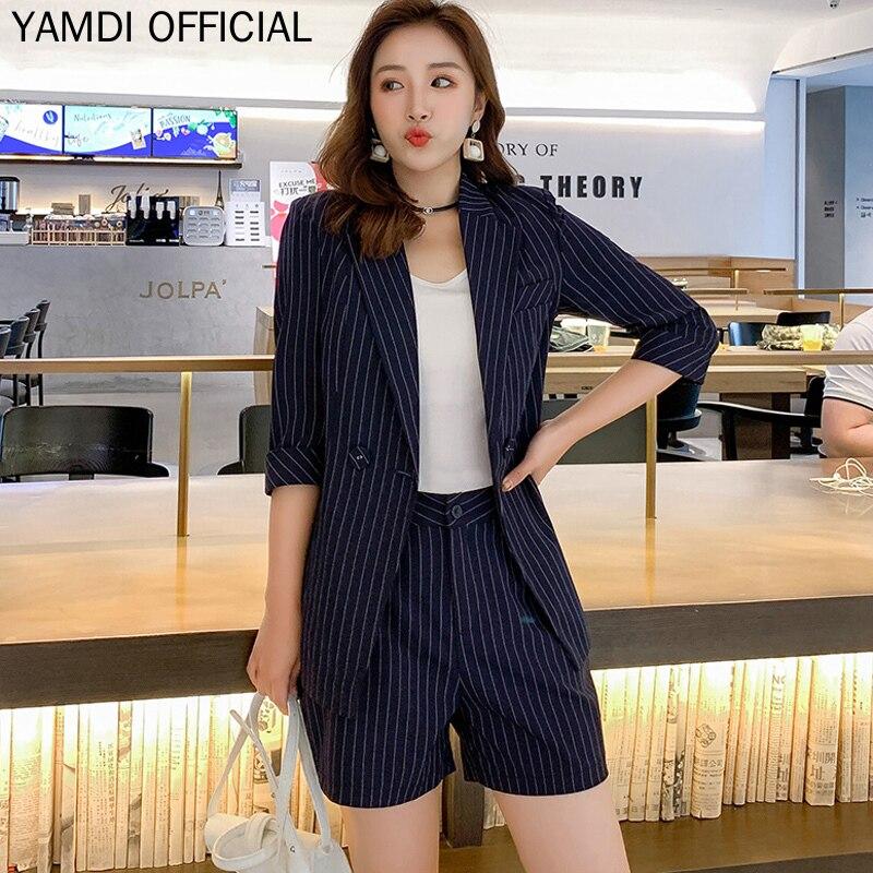 YAMDI Women Short Suits Korean Office Lady Business Stripe 2 Piece Pants Sets Half Sleeve Jacket Blazer + High Waist Hot Shorts