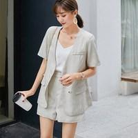 2019 Cotton Linen Summer Suit Female 2 Pieces Set Tracksuit For Women Loose Blazer And Short Pant Suits High Quality
