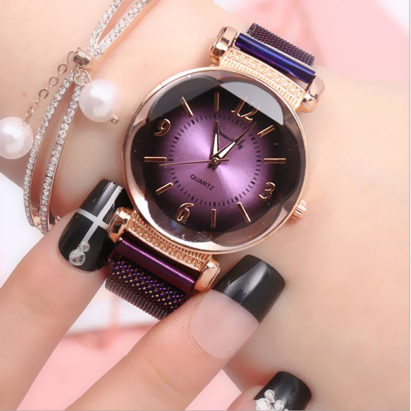 Fashion Women Watch Wild New Watch Milan Magnet Buckle Luxury Fashion Ladies Geometric Roman Numeral Quartz Movement Watch