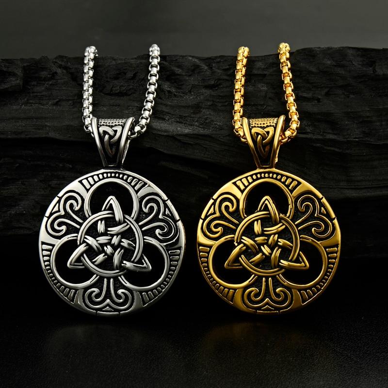 Muški srebrni irski čvor Triquetra ogrlica od nehrđajućeg čelika - Modni nakit - Foto 4
