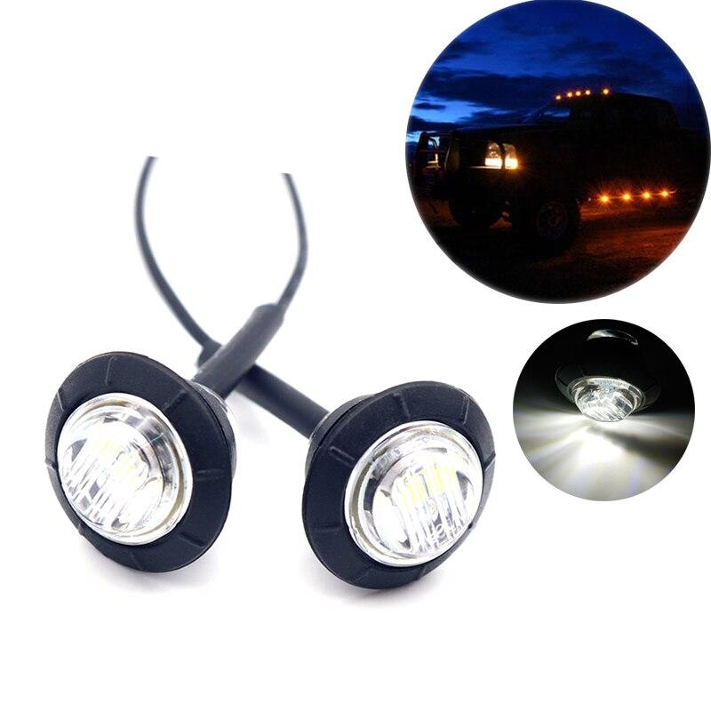 2pcs Waterproof White Side Marker Indicators Light LED 12V Bullet Lamp 3/4