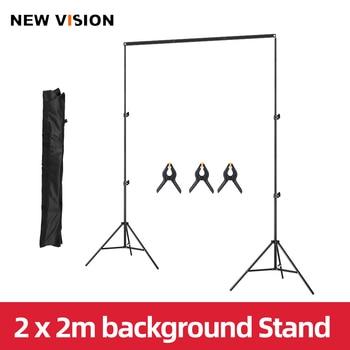 2x2m 6.5ft*6.5ft Backdrop Background Frame Light Stand + 3pcs Clip + Carry Bag Backgrounds Stand Studio Kit 1