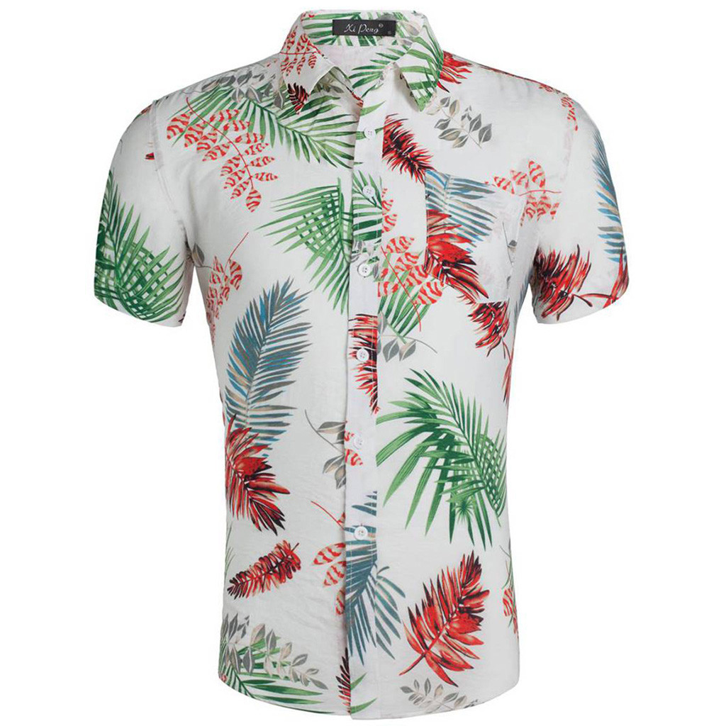 Mens Hawaiian Shirt Male Casual  Printed Beach Shirts Short Sleeve 2019 New Fashion Brand Size Apr26