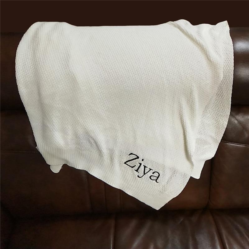 Name Personalised Baby Blanket Newborn Swaddle Wrap Blanket Cotton Crochet Toddler Infant Baby Bedding Crib Bed Stroller Blanket