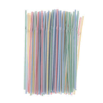 Colorful 100PCS/set 21cm Curved Plastic Drinking Straw Cocktail Lounge Wedding Birthday Party image