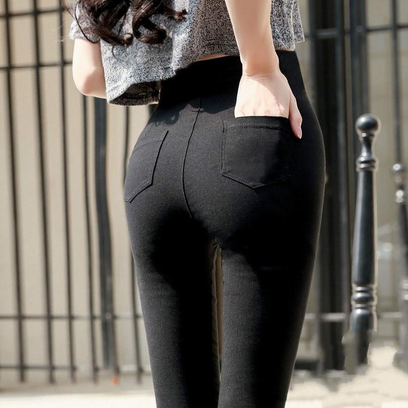 Women Jeans Leggings Casual Fashion Skinny Slim Washed Jeggings Thin High Elastic Denim Legging Pocket Pencil Pants For Women