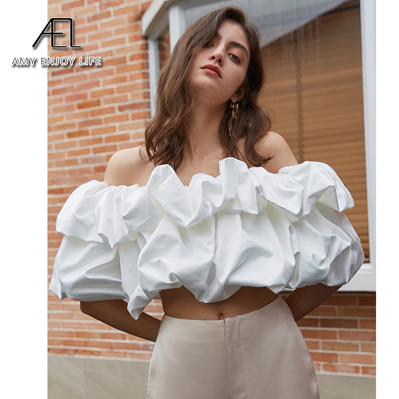 AEL Off Shoulder Crop Tops Women Summer White Short Sleeve Shirts Lady Sexy Slash Neck Beach Strapless Blouse