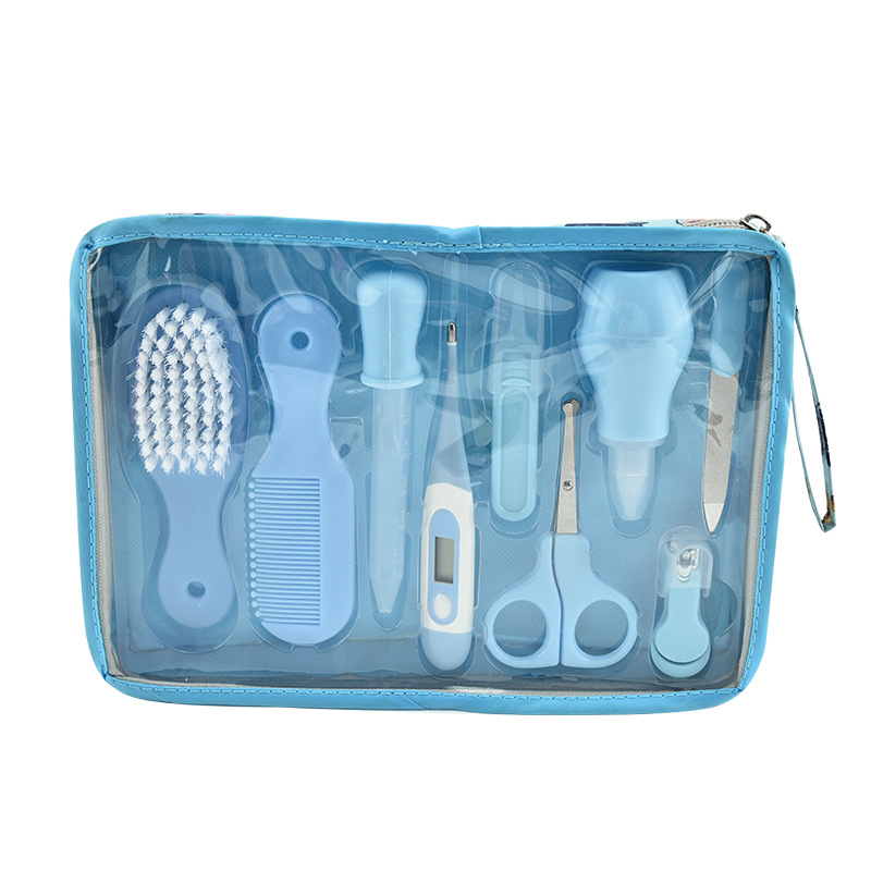 Детский комплект для ухода за здоровьем, комплект для ухода за новорожденным ребенком, комплект для ухода за ребенком, термометр, ножницы для стрижки, детские туалетные принадлежности для малышей - Цвет: blue 9PCS