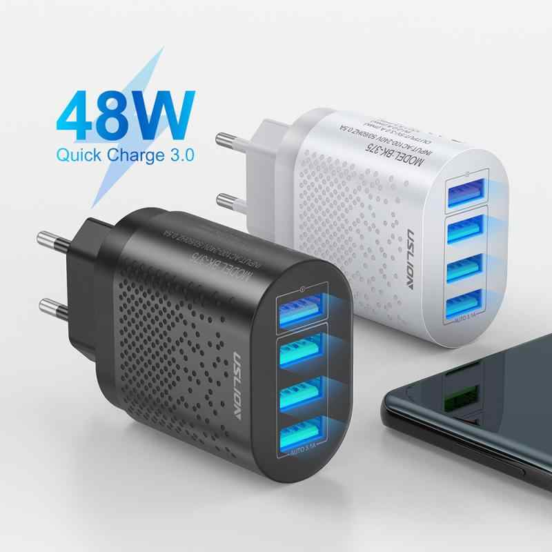 4 USB Charger 5V 3A Fast Charging Wall Charger Adapter EU USปลั๊กโทรศัพท์มือถือสำหรับIphone Ipad Mini samsung Xiaomi