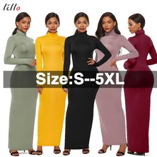 купить New! long sleeve stretch slim high collar dress free shipping plus size elegant fashion solid color office women's long dress wine red yellow black slim недорого