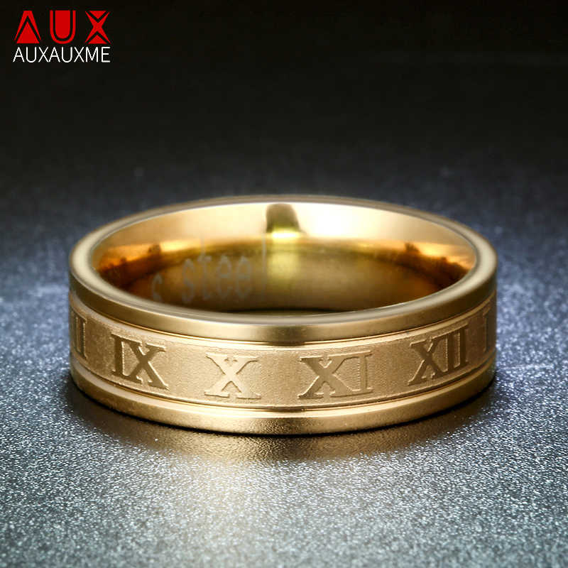 Auxauxme 8mm Roman Numerals Wedding Band Ring For Men Women Gold Black 316L Stainless Steel Cool Punk Rings Fashion Jewelry