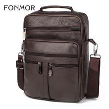 Fonmor, bolso de piel auténtica, bolso cruzado de piel de vaca para hombre, bolsas de mensajero de hombro para hombre, bolso de mano para Ipad, maletín, nueva moda