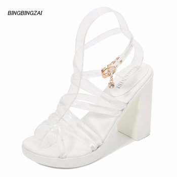 BBZAI Summer Sexy women's shoes New pattern Superior quality Sandals crystal 10C Coarse heel Fashion Show Nightclub 4-11 12