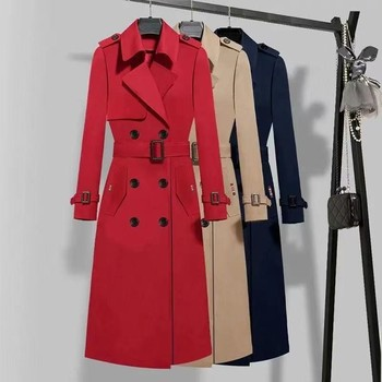 fashion Spring Autumn Coat Women Turn-down Collar Double Breasted Long Trench Casual Slim Trench With Belt Black Red Jakcet 1