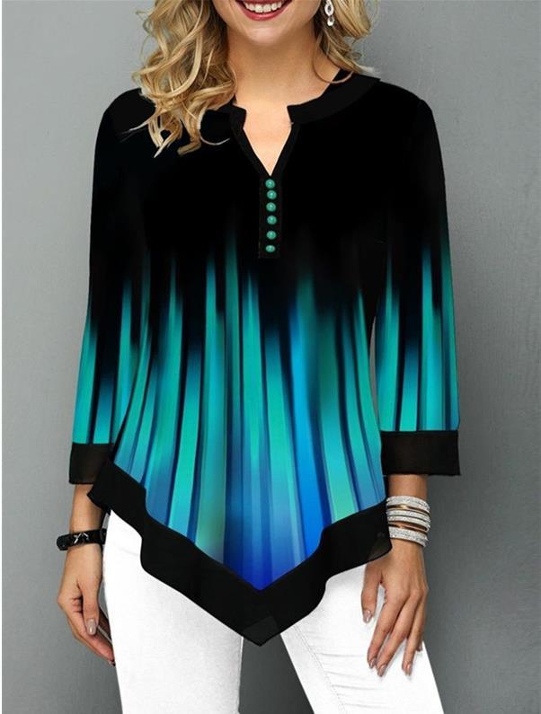 Shirt Blouse 2020 Spring Autumn New Stripe Women Irregular Shirt Long Sleeve Casual Print 3D Shirts Big Size Female Clothes