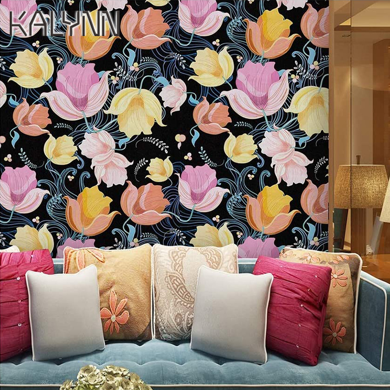 Tulip Flower Self Adhesive Wallpapers for Living Room Bedroom Girl Room Decoration Contact Paper Removable DIY Vinyl Stickers 6m
