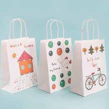10 Pcs/lot Festival Gift Kraft Bag White Shopping Bags with animal house DIY Multifunction Recyclable Paper With Handles