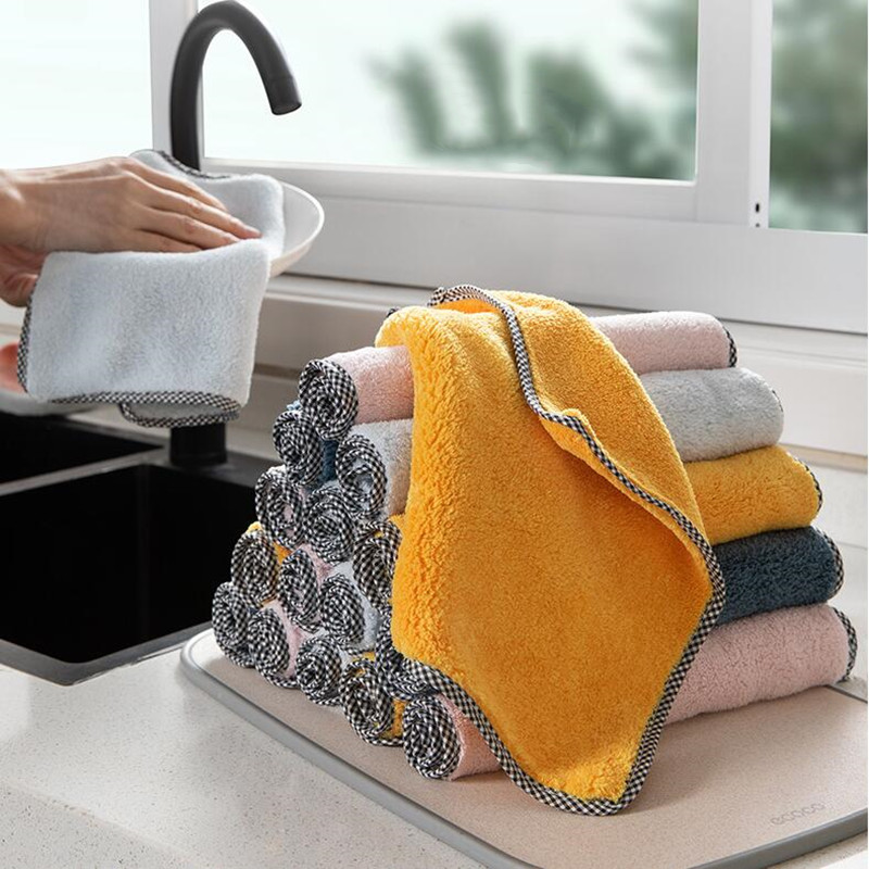 1pc Kitchen Towel Household Super Absorbent Cleaning Cloth Rag Microfiber Dishcloths Washing Cleaning Rags For Dish Washing Tool