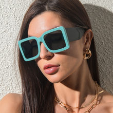 2021 new European and American trend l square sunglasses men and women personality wide-legged sunglasses hit color glasses