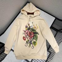 top quality runway design hooded hoodies women flower printing cotton sport sweatshirt 2020 new high end casual loose pullover