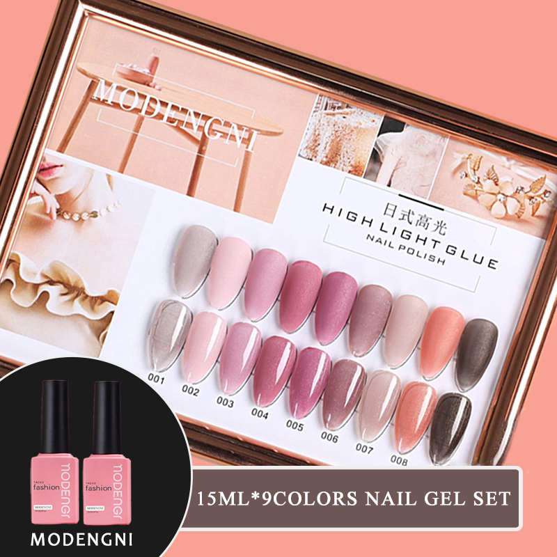 15ml Hightlight Glue Pink Series 9 Colors Gel Nail Polish Nail Gel Varnish Soak Off UV Gel Varnish Base Coat No Wipe Top Coat