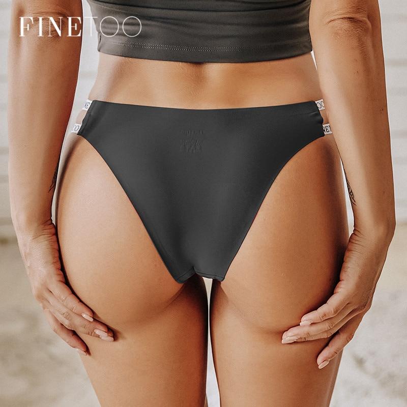 FINETOO seksi brezilyalı külot kadın dikişsiz Thongs M-XL bayanlar yumuşak külot pürüzsüz mektup iç çamaşırı kadın iç çamaşırı 2021