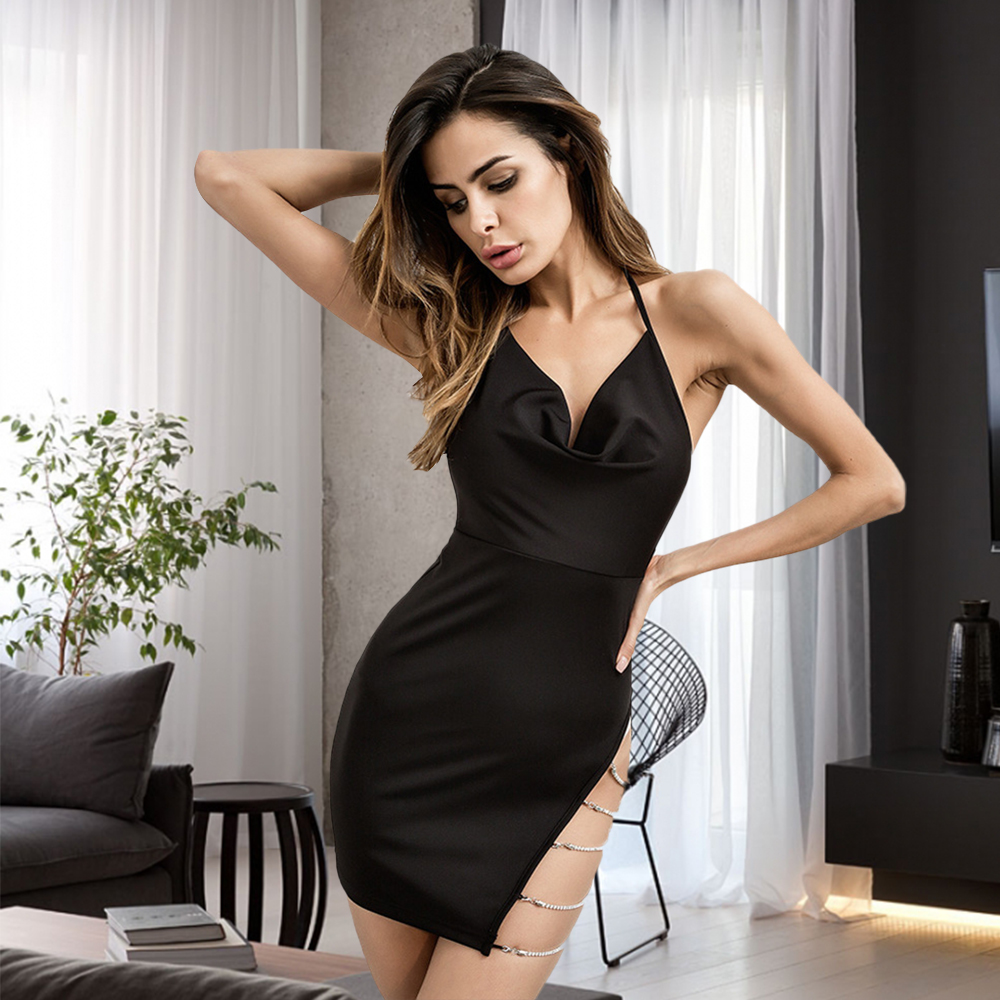 Bikitique <font><b>Open</b></font> <font><b>Back</b></font> Side Slit Neck Strap With Diamond Metal Chain Wrap Hip Sexy <font><b>Dress</b></font> Nightclub Date Party <font><b>Dress</b></font> Women image