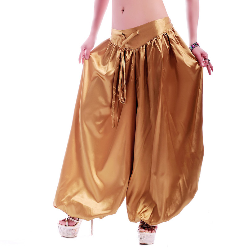 Silk Imitation Harem Long Pants Tribal Style Belly Dance Pants Bellydance Clothes Bellydancing Performance Costume ATS Bloomers