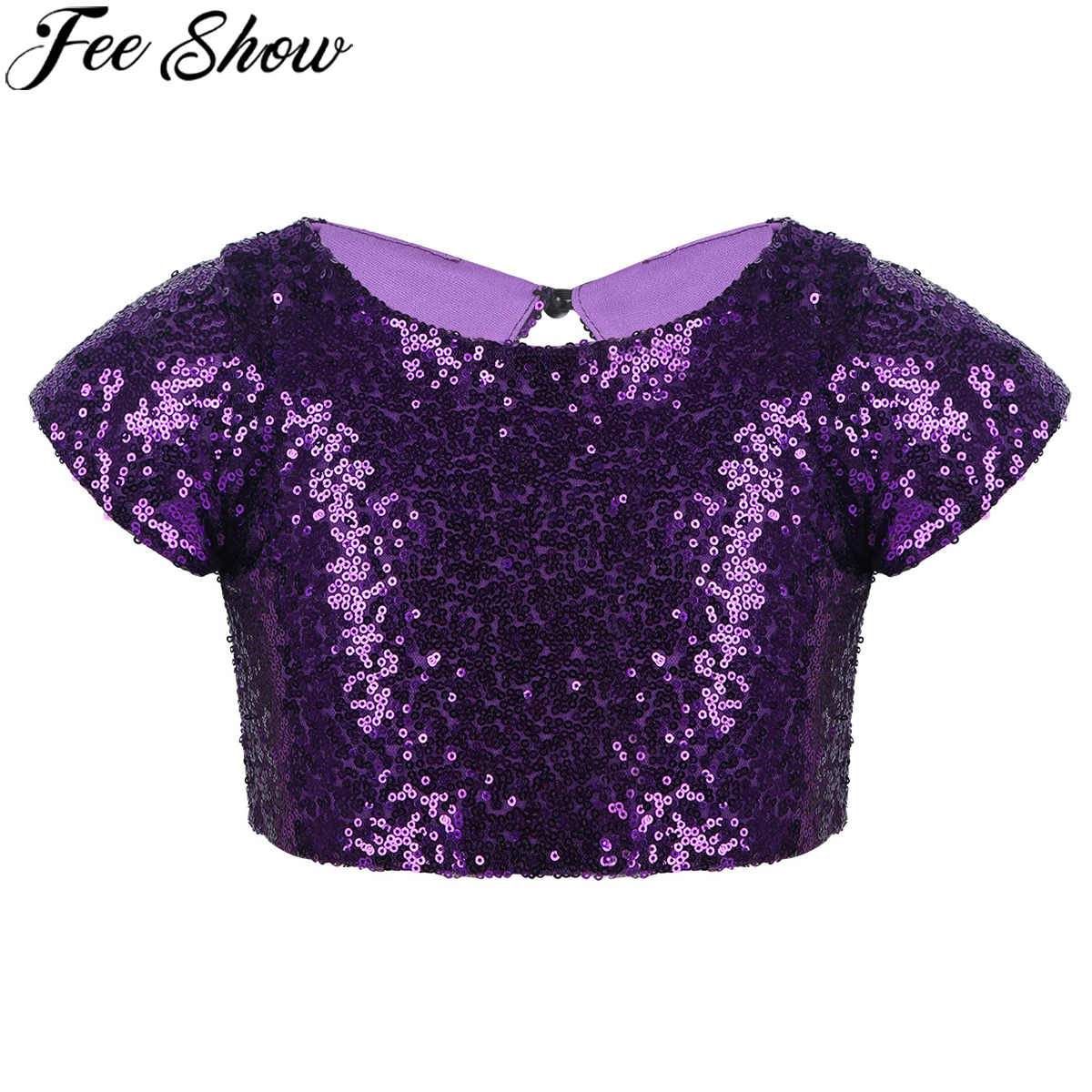 Shiny Metallic Childrens Cropped Vest Top Girls Gymnastic Dance Show Fancy Dress