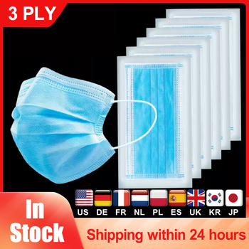 Blue Disposable Medical Mask 3-Ply Anti-Dust Non-woven Elastic Earloop Mouth Face Surgical Mask Protective Filter Safety Masks