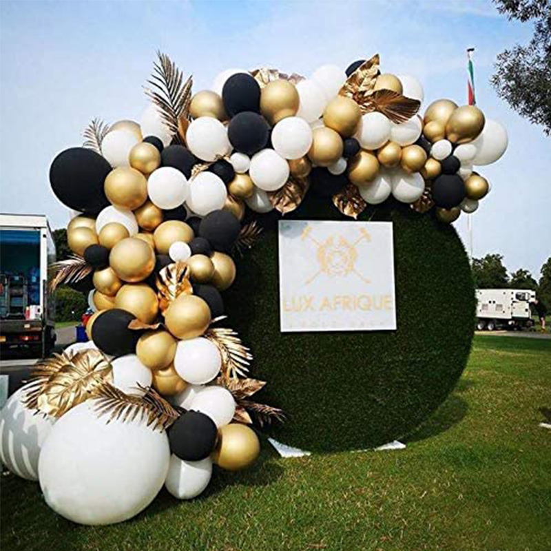 153pcs Black Gold Balloon Arch Garland Kit Metallic Gold Balloon White Balloon for Birthday Fiesta Wedding Christmas Engagement