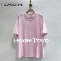 ZIWWSHAOYU Autumn Female Pink Short Sleeve Tees Tops Runway Designer Women Gorgeous Pearl Fashion Casual T Shirt 2020